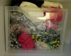 Como me faltou gavetas e biquinis são difíceis de manter organizados, comprei essa caixa que coube certinho na minha prateleira.